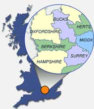 Berkshire, Buckinghamshire, Hampshire, Oxfordshire, Hertfordshire, Surrey, Middlesex